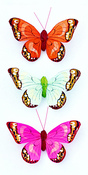 Butterfly Stickers Orange, Lime And Hot Pink With Spots