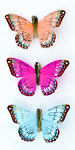 Butterfly Stickers Orange, Light Blue And Light Pink