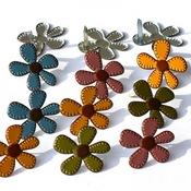 Stitched Flowers Fall Set Brads