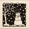 Winter Scene Wood Stamp