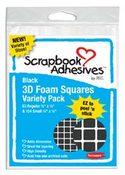 Black 3D Foam Adhesive Squares 2 Sizes
