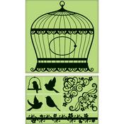 Bird Cage Cling Stamp Set By Inkadinkado