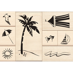 Day At The Beach Wood Stamps By Inkadinkado