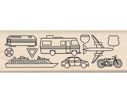 Travel Border Wood Stamp By Inkadinkado
