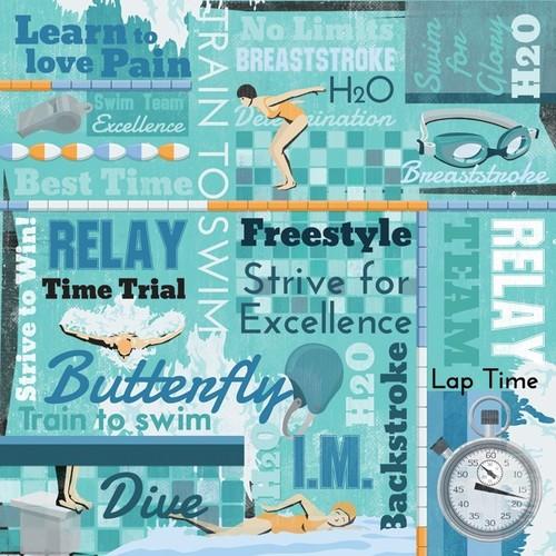 Swimming Collage Paper By Karen Foster