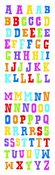 Block Multi Color Alphabet Sticker Strips - Mrs. Grossman