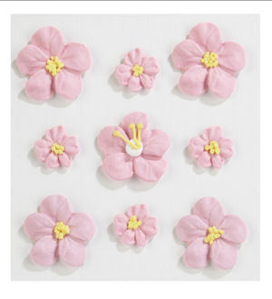 Small & Large Pink Baby Girl Cake Icing Flowers