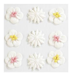 White Mix Wedding Cake Icing Swirl Flowers