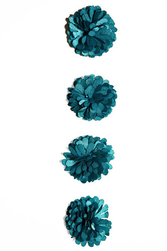 Teal Pom Pom Flower Stickers - Fluerettes - Mark Richards