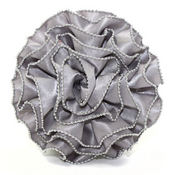 Chain Edge Silver Ruffled Rose Pin Clip Fleur - Laliberi
