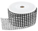 Black/Silver Diamond Ribbon - 2 Yards