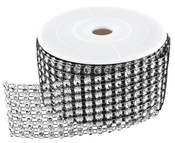 Black/Silver Diamond Ribbon - 2 Yards