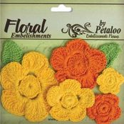 Yellow/Orange Crochet Flowers - Petaloo