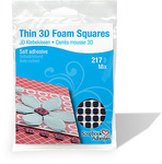 Thin Black 3D Foam Self Adhesive Squares - Scrapbook Adhesives