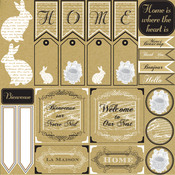 French Home Sampler Paper - White On Kraft - Canvas Corp