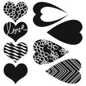 Mix & Match Hearts 6 x 6 Stencil - Crafters Workshop