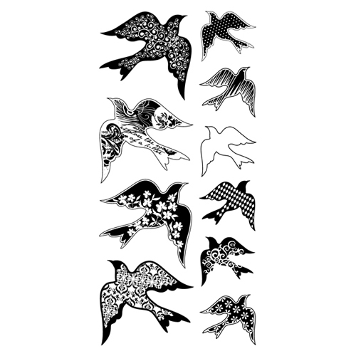 Patterned Birds Clear Stamps, Inkadinkado
