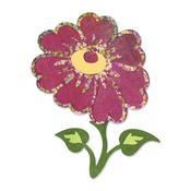 Flower With Stem & Leaves #4 - Sizzlits Die - Sizzix