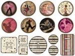 Burlesque Resin Round Stickers - FabScraps