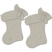 Christmas Stockings 2/Pkg Die-Cut Grey Chipboard Embellishments - Christmas Coll
