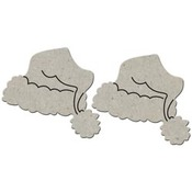 Christmas Hat 2/Pkg Die-cut Chipboard Embellishments - Christmas Collection - Fa