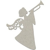 Christmas Angel With Trumpet Die-cut Chipboard Embellishment - FabScraps