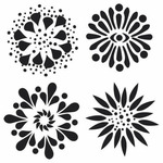 Mini 4 Flowers 6 x 6 Stencil - The Crafters Workshop