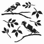 Dinas Love Birds 12 x 12 Stencil - The Crafters Workshop