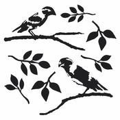Dinas Love Birds 12 x 12 Stencil - The Crafters Workshop