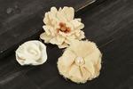 Canvas & Lace #2 Fabric Flowers W/Decorative Middle - Au Naturale - Prima