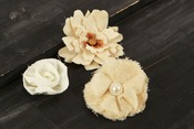 Canvas & Lace #2 Fabric Flowers W/Decorative Middle - Au Naturale - Prima