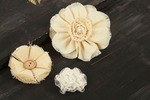 Canvas & Lace #1 Fabric Flowers W/Decorative Middle - Au Naturale - Prima
