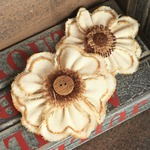 Cassie Natural Fabric Flowers W/Button Middles By Prima