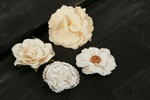Au Naturale #2 Fabric Flowers W/Decorative Middle - Prima