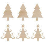 Mini Christmas Trees Wooden Flourishes - KaiserCraft