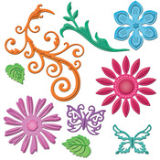 Jewel Flowers And Flourishes Die Templates - Shapeabilities - Spellbinders