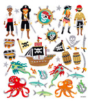 Sea Pirate Multi-Colored Stickers