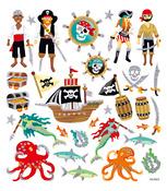 Sea Pirate Multi-Colored Stickers