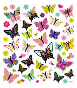 Butterfly Glitter Multi-Colored Stickers