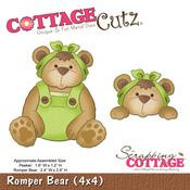 Romper Bear And Peeker 4x4 Metal Die - Cottage Cutz