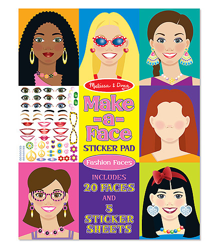 Make-a-Face Fashion Faces Sticker Pad