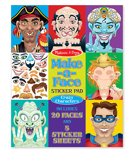 Make-a-Face Crazy Characters Sticker Pad