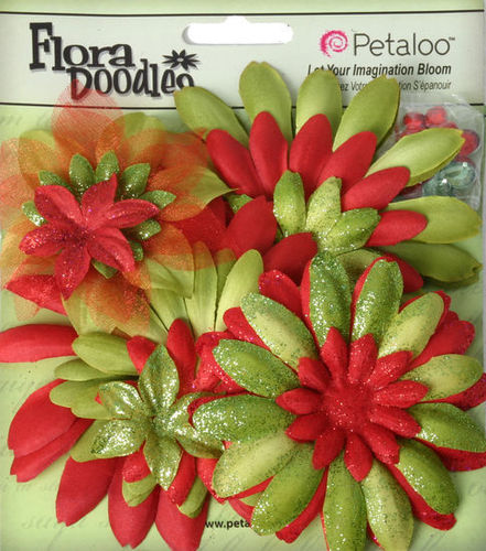 Red/Green Mixed Layered Flowers - Petaloo
