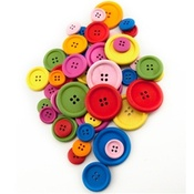 Bright 30mm Assorted Colored Buttons - Hygloss