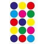 "Circle Multi Colored Stickers 1.25"", 3 sheets - Hygloss"