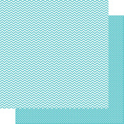 Snap Teal Chevron/Mini Dot Paper - Color Vibe - Simple Stories