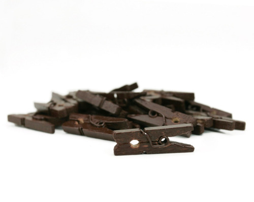 Chocolate Mini Clothes Pins - Canvas Corp