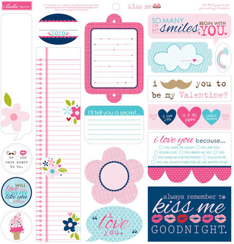 Kiss Me Just Write Journal Stickers - Bella Blvd