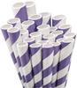 Purple White Striped Paper Straws