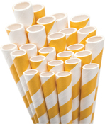 Bright Yellow Striped Paper Straws